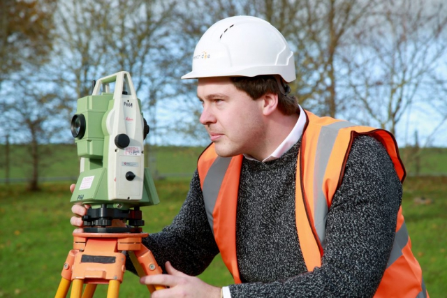 This image was taken by Dpi Photography of a Westridge Construction Employee using the Theodolite.