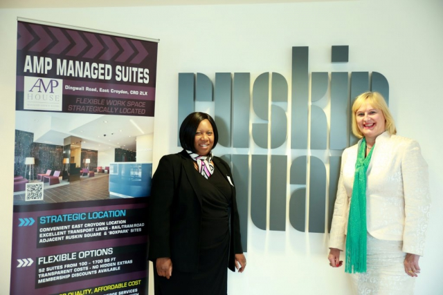 This is a photo at the Shaking Hands social event at the Amp managed suites with Debbie Mulungye and Croydon Chamber chair Nicolina Andall. By Dpi Photography.