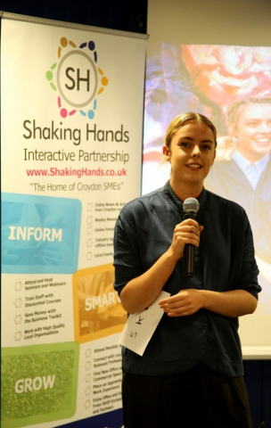 This was photo was taken of Artist Stephanie k Kane at the Shaking hands social event at Impact house in Croydon.