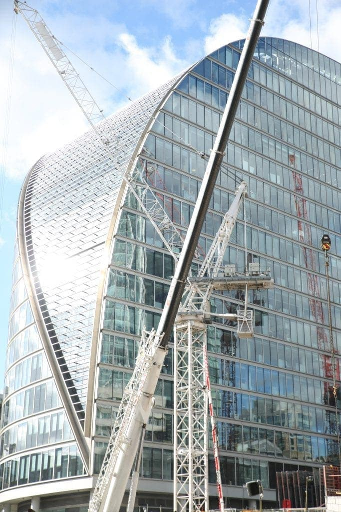 I took this shot outside Moorgate station of the amazing glass architecture. By Dpi Photography.